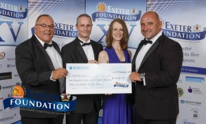 Keiron Northcott (Exeter Foundation), Dave Tucker & Holly Keatings (Headway Devon), & special guest David Flatman